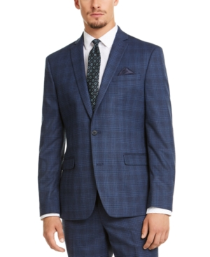 1960s Mens Suits | 70s Mens Disco Suits Bar Iii Mens Slim-Fit Stretch Blue Plaid Suit Jacket Created for Macys $169.99 AT vintagedancer.com