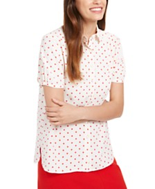 Anne Klein Micro-Dot Button-Up Shirt