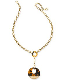 "Alfani Gold-Tone & Tortoise-Look Link Lariat-Necklace, 20"" + 2"" extender, Created For Macy's"
