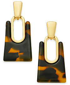 Alfani Gold-Tone Tortoise-Look Rectangle Drop Earrings, Created For Macy's