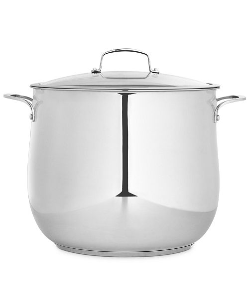 Belgique Polished Stainless Steel 20-Qt. Covered Stockpot, Created for Macy's