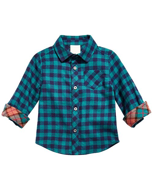 First Impressions Baby Boys Cotton Plaid Shirt, Created for Macy's