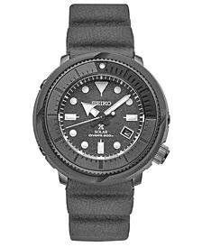Seiko Men's Solar Prospex Diver Gray Silicone Strap Watch 47mm