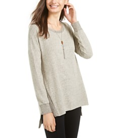 BCX Juniors' Shine Tunic Sweater with Necklace