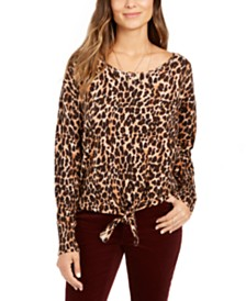 Style & Co Printed Tie-Hem Top, Created for Macy's
