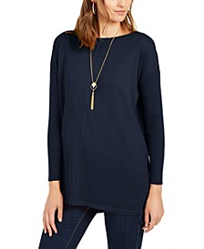 Petite Seam-Front Tunic Sweater, Created for Macy's