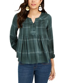 Style & Co Plaid Split-Neck Top, Created for Macy's