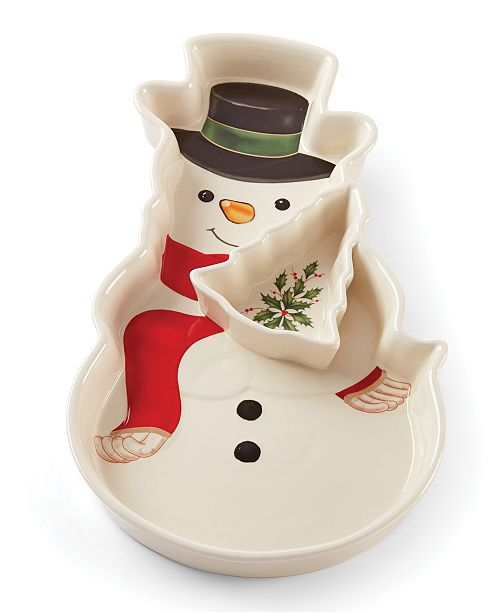 Lenox Holiday Snowman Chip and Dip