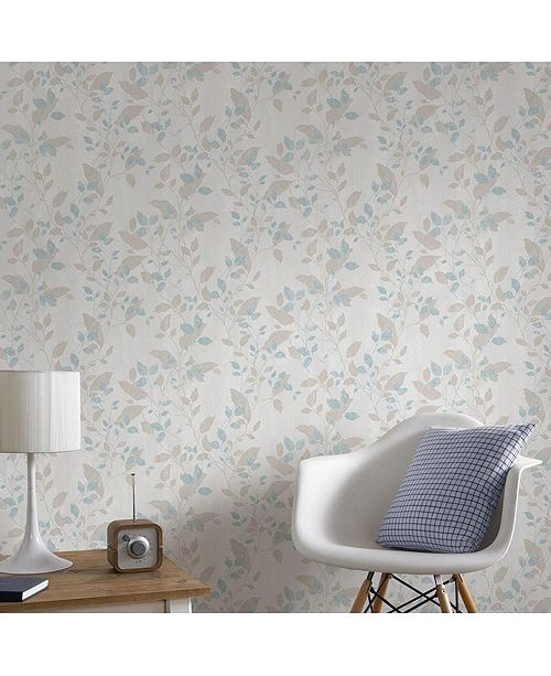 Graham Brown Vermeil Leaf Duck Egg Wallpaper
