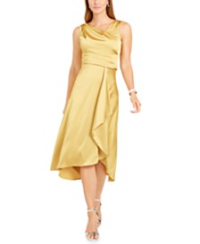Taylor Petite Draped Satin Midi Dress