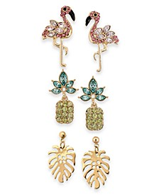 INC Gold-Tone 3-Pc. Set Crystal Tropical Stud Earrings, Created For Macy's
