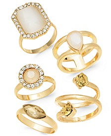 INC Gold-Tone 5-Pc. Set Stone & Crystal Statement Rings, Created For Macy's