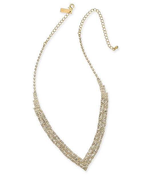 "INC International Concepts INC Gold-Tone Rhinestone V-Shape Necklace, , 11"" + 3"" extender, Created For Macy's"