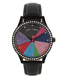 Multi-Colored Pie Chart Dial & Black Strap Watch 39mm