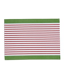 Design Imports X-mas Candy Apple Stripe Placemat Set