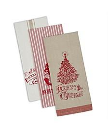 Assorted Vintage-Like Print Christmas Dishtowels Set