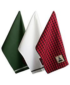 Design Imports Assorted Christmas Fireside Embellished Dishtowels Set
