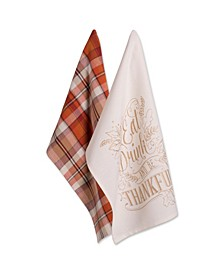 Assorted Check Fall Be Thankful Printed Dishtowel Set