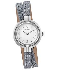 Women's Rhapsody Diamond-Accent Silver-Tone Leather Double Wrap Strap Watch 30mm