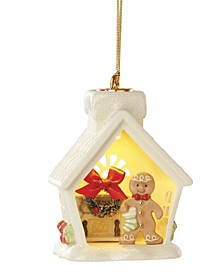 Lit House and Gingerbread Scene Ornament