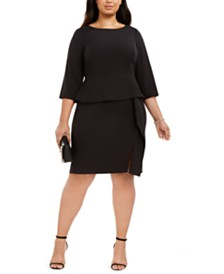 Vince Camuto Plus Size Ruffled Peplum Sheath Dress