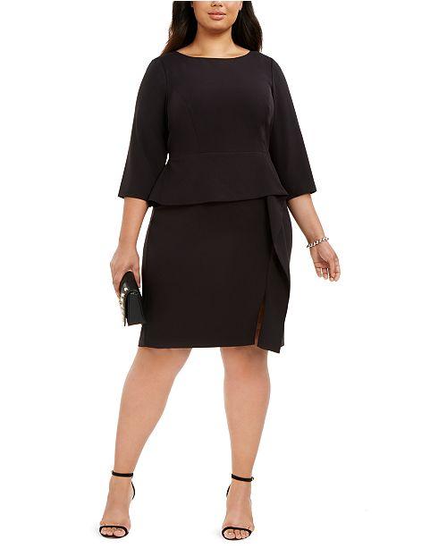 Vince Camuto Plus Size Ruffled Peplum Sheath Dress & Reviews ...