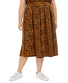 Plus Size Snake-Print Pleated A-Line Midi Skirt, Created for Macy's
