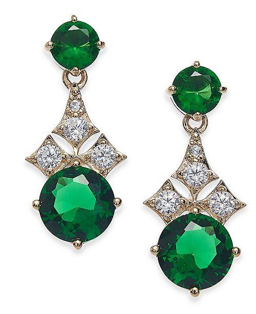 Eliot Danori Gold-Tone Cubic Zirconia & Glass Drop Earrings, Created For Macy's
