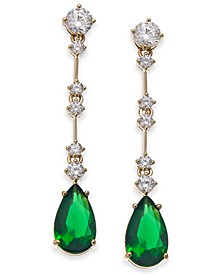 Gold-Tone Cubic Zirconia & Glass Stone Teardrop Drop Earrings, Created For Macy's