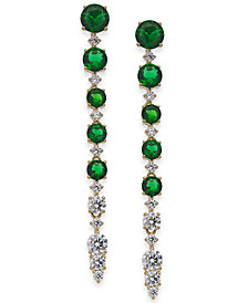 Eliot Danori Gold-Tone Cubic Zirconia & Glass Stone Linear Drop Earrings, Created For Macy's