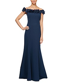 Petite Off-The-Shoulder Rosette Gown