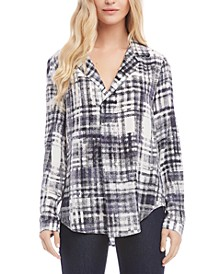 Plaid Notched-Collar Top