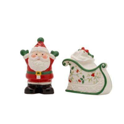 Winterberry Santa and Sleigh Salt and Pepper Set