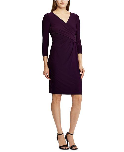 Lauren Ralph Lauren 3/4-Sleeve Ruched Jersey Dress