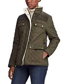 Corduroy-Trim Quilted Jacket