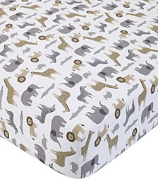 Cotton Sateen Crib Sheet - Multi Safari