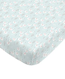 Swan Print Fitted Crib Sheet