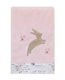 Woodland Wreath Plush Blanket with Bunny Applique