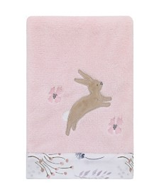 Nojo Woodland Wreath Plush Blanket with Bunny Applique