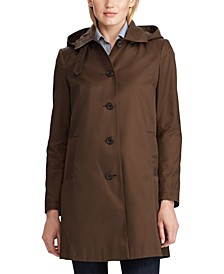 Hooded Single-Breasted A-Line Raincoat, Created for Macy's