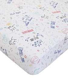 Doodle Dog Fitted Crib Sheet