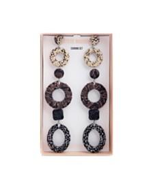 Steve Madden Animal Print Earring Set