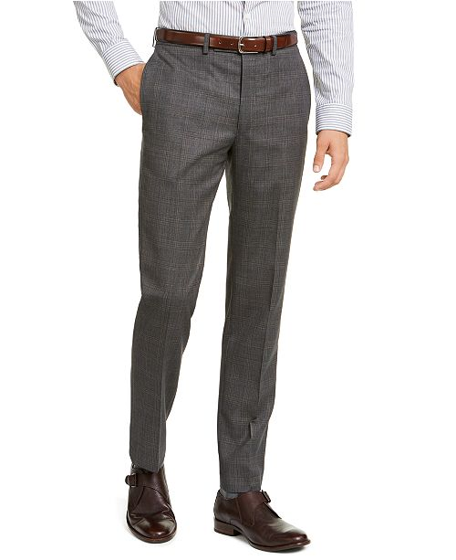 Calvin Klein Men's Slim-Fit Stretch Gray Plaid Suit Pants
