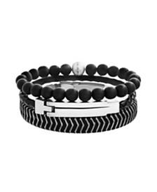 Steve Madden Men's Black Leather, Beaded and Threaded Bracelet Set