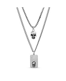 Steve Madden Men's Skull and Dog Tag Duo Necklace Set in Stainless Steel