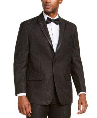Men's Classic-Fit Black Paisley Suit Jacket