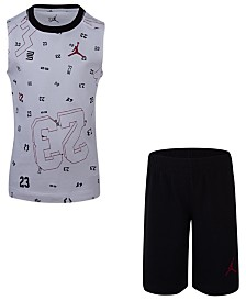 Jordan Little Boys 2-Pc. Cotton Printed Sleeveless T-Shirt & Shorts Set