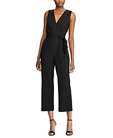 Self-Tie Crepe Jumpsuit