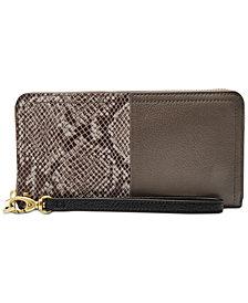 Fossil RFID Logan Leather Zip Wallet
