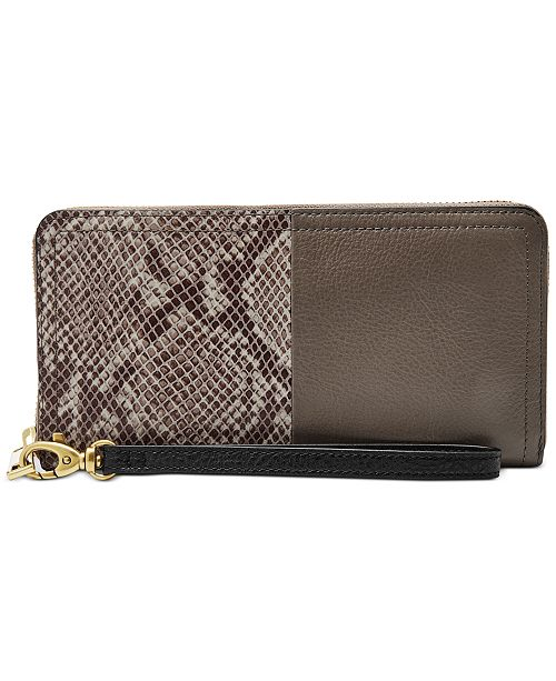 Fossil RFID Logan Leather Zip Wallet